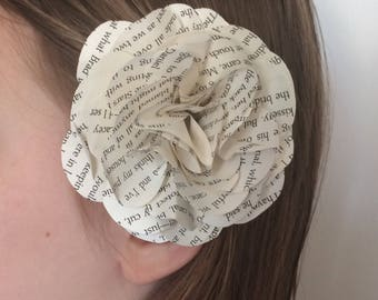 Hair flower, book page flower wedding hair accessory, anniversary and romantic engagement, bridal shower