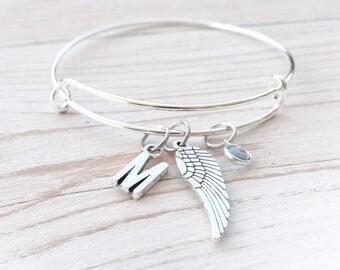Memorial Bracelet, memorial keychain, Angel wing Bracelet, I love angels keychain, custom keychain, personalized