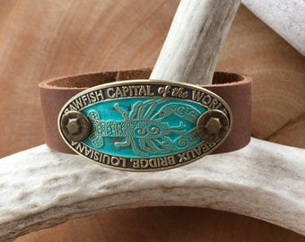 Thin Leather Crawfish Capital Breaux Bridge Rustic Brown Leather Cuff Bracelet Handmade