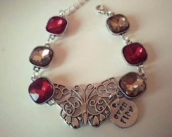 Even flow, butterfly bracelet with taupe and red crystals