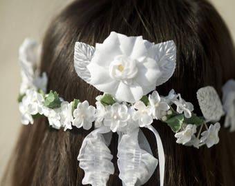 """Flower Crown model """"White fairy"""""""
