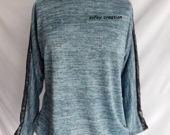 mottled blue fine knit sweater