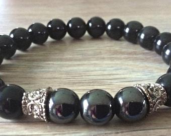 Bracelet men/women healing magnetic Hematite and Obsidian stone beads
