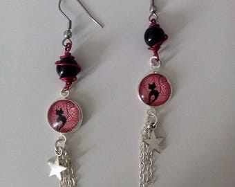a pair of earrings original vintage style cat cabochon