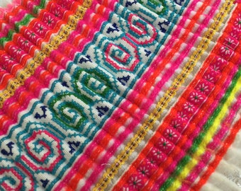 Sale!!! Handwoven Hmong cotton,vintage Batik fabric textiles, old skirt Hmong, Hmong textile from Thailand