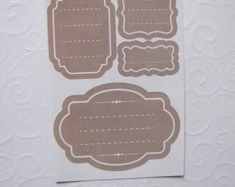 Tags color taupe liserai (set of 8) white - jam, notebooks, gifts