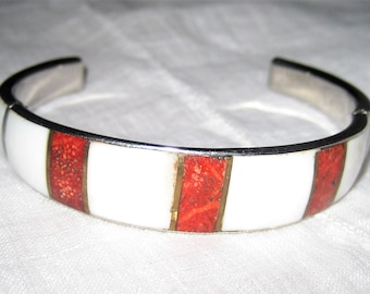 Red and White Enamel Cuff Bracelet 3 Middle Red Panels 6 White Panels Silver Cuff Bracelet Vintage 1960's Jewelry Enamel Cuff Gift