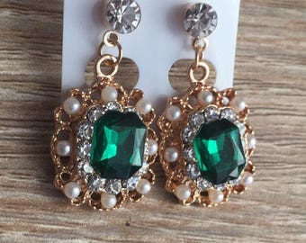 Gold Gem Drop Earrings Emerald Green