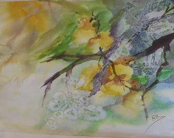 Watercolor on paper yellow orchids