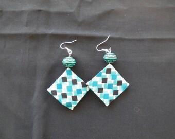 Geometric patterned fabric earrings