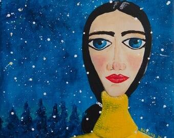 Folk Winter Portrait - Woman, Naive Art, Yellow Turtleneck, Snow, Big Blue Eyes, Red Lips, Small Painting