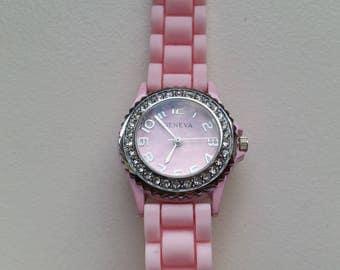Pink Gel Watch with Rhinestone Bezel