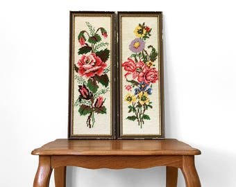 Set of 2, Vintage, 1970's, Floral, Distressed, Wood, Framed, Needlepoint, Wall Hangings