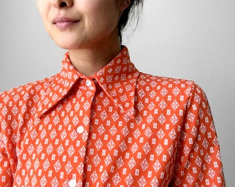 Vintage, 1970's, Tangerine, Orange, Patterned, Button-Up, Wide-Lapel, Wide-Collared, Long-Sleeve, Shirt, Top