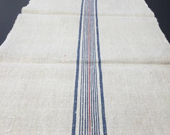Authentic Vintage European linen about 1900-1920-(11 Stripe-Blue and red)