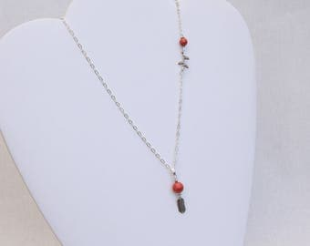 Fine Silver 925 and coral necklace