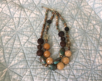 Vintage Fashion Chunky Necklace of Stones, Glass and Wood Beads, Makers Mark