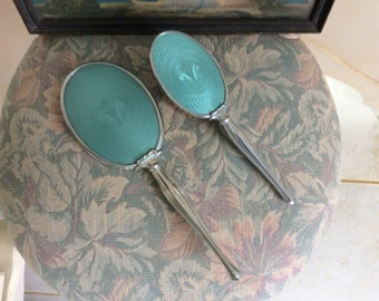 Art Deco Guilloche and Silver Brush and Beveled Mirror Vanity Set