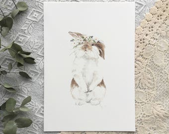 A4 Bunny with flower crown
