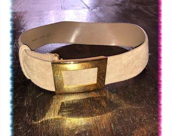Vintage taupe suede belt