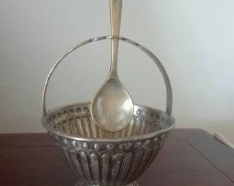 Antique sugar bowl, sugar bowl, sugar bowl with spoon.