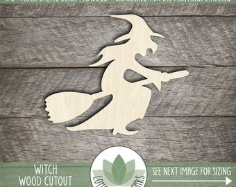 Witch Laser Cut Wood Shape, DIY Crafting Supplies, Halloween Witch On Broom, Halloween Home Decor, Wood Witch
