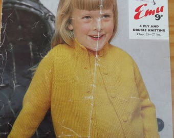 """Vintage knitting pattern by Emu for child's twin set in sizes 23-27"""" chest."""
