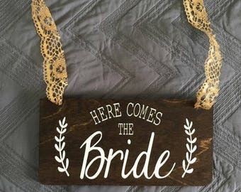 Here Comes The Bride Wood Sign, Wedding Sign, Wood Sign, Wedding decor, Here Comes the Bride Sign