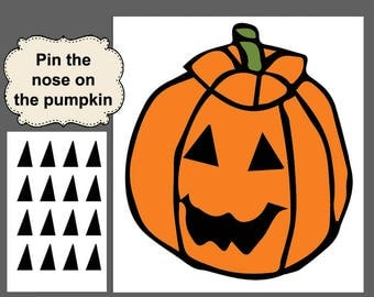 Halloween Game,  Digital Download, Halloween Printable, Pin the Nose Game, Halloween Party, Kid Halloween Game,Haloween DIY,Halloween  Party