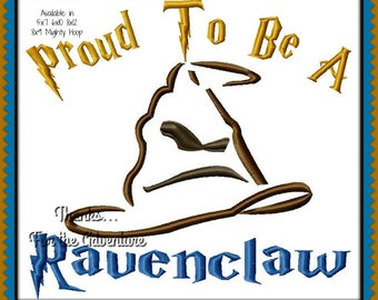 Harry Potter Sorting Hat I'm Proud to be a Ravenclaw Combo Digital Embroidery Machine Sketch Design File 5x7 6x10 8x12 8x9 Mighty Hoop