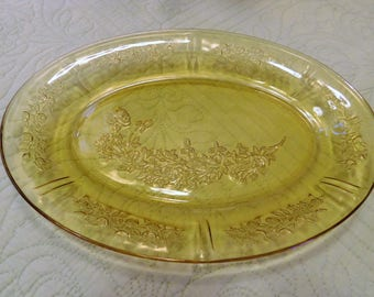 Oval Platter Amber Sharon Cabbage Rose Federal Glass Company 1935-1939 Discontinued