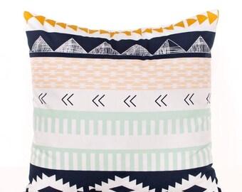 SALE ENDS SOON Kilim Throw Pillow Cover, Navy Toss Pillow, Mint Green, Gold, Kilim Nursery Pillow, Kids Room Decor, Aztec Pillow