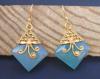 925 Sterling Silver Hand Crafted Gold Plated Aqua Chalcedony Women's Fashion Earrings For GIFT