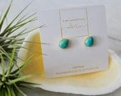 Natural Stone, dainty, Turquoise, Minimalist, Gold Plated, Oval, Tear Drop, boho, trendy, gift for her, Stud Earrings