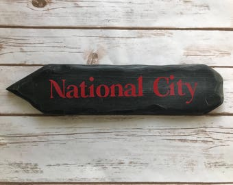 Rustic Hand Painted National City Directional Sign / Supergirl / Nerd Decor