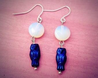 Owl earrings, Full Moon Earrings
