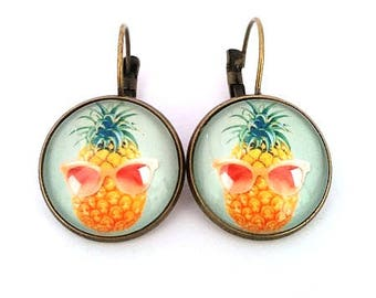 Pineapple earrings glasses • • cabochon bronze