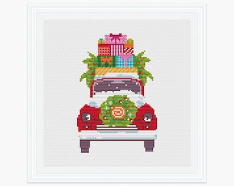Christmas Car cross stitch pattern pdf, Holiday cross stitch, Modern cross stitch, Red Car instant download, 001