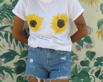 Sunflower boobs tee shirt hand painted