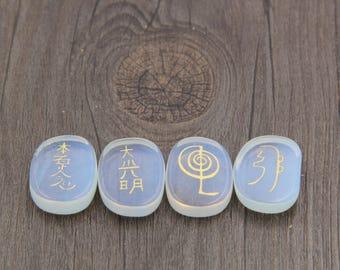 1 Set Ellipse Opal Chakra Healing Stone Set With Engraved - Crystal Healing Kit - Seven Chakra - Healing Crystal Set