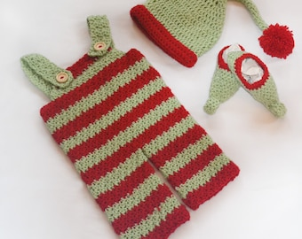 Crocheted Elf Outfit | Dungarees | Unisex Babywear | Christmas | Shoes | Hat | Made to Order