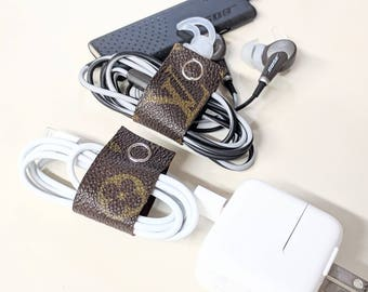 Louis Vuitton charger organizer - LV earbud holder - upcycled LV cord organizer - Louis Vuitton cord holder - LV computer cord organizer