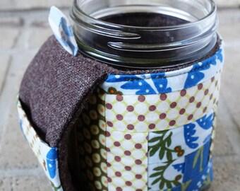 Fabric Mason Jar Cozy, Mugzy, Pint Size Mason Jar Cover, Jar Handle, Wide Mouth Jar Cozy, Regular Mouth Jar Cozy, Perfect Gift