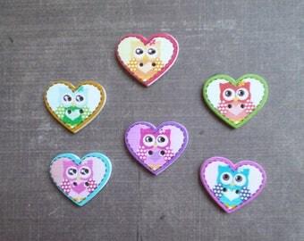 12 wooden buttons heart OWL bird animals