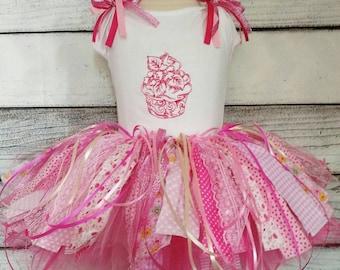 scrap tutu,rag tutu,personalized first birthday  fabric scrap rag tutu set,cupcake tutu skirt,birthday fabric tutu,fabric scrap tutu skirt