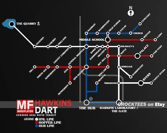 DART Demodog Area Rapid Transit - Stranger Things 2  Mind Flayer Hawkins Map Men's Unisex T-Shirt - 1980's Subway BART Map Parody Clothing