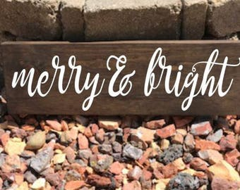 Farmhouse Christmas, Farmhouse Christmas Sign, Merry and Bright, Merry and Bright Sign, Merry and Bright Wood Sign, Christmas Sign