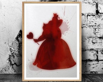 The Queen of Hearts (Alice in Wonderland) A4 watercolour print, 220gsm canvas textured paper *FREE UK P&P*