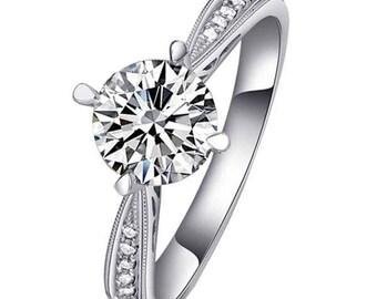 Forever One Moissanite Vintage Filigree Engagement Ring