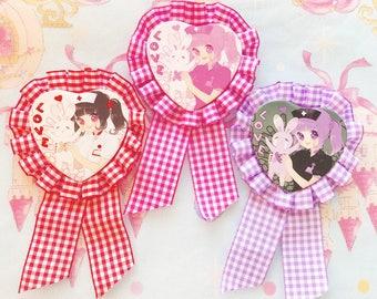 Menhera Heart Badge Rosette Button - Nurse and Bunny
